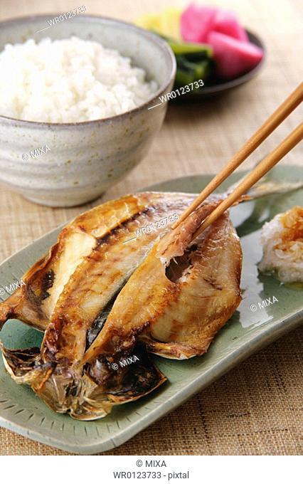 Grilled horse mackerel, close-up