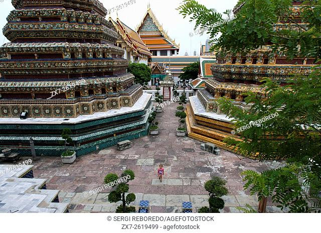 Wat Pho Temple, Bangkok, Thailand. Wat Pho (the Temple of the Reclining Buddha), or Wat Phra Chetuphon, is located behind the Temple of the Emerald Buddha and a...