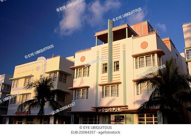 South Beach. Ocean Drive. Art Deco hotel facades seen in early morning light