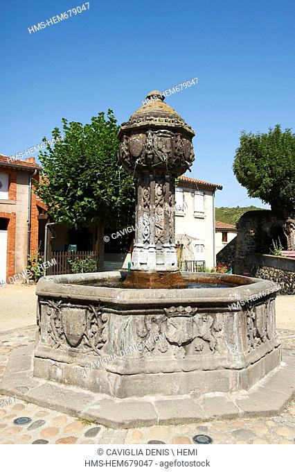 France, Puy de Dome, Saint Saturnin, labeled Les Plus Beaux Villages de France The Most Beautiful Villages of France, Renaissance fountain