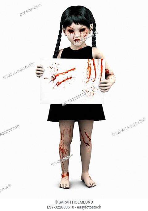 A gothic blood covered small girl holding sign