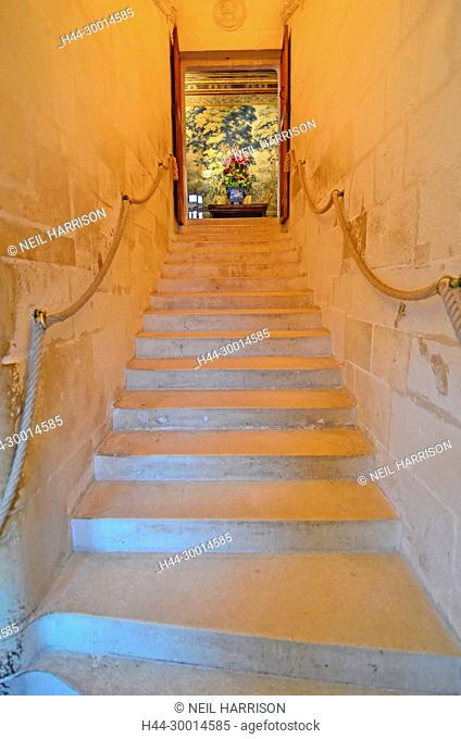 elegant stone staircase within a renaissance french chateau with a colourful tapestry and flower arrangement at the top