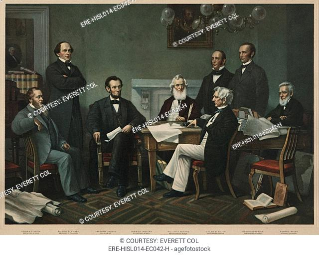 The first reading of the Emancipation Proclamation before the cabinet, July 22, 1862. Left to right: Edwin Stanton, Salmon Chase, Lincoln, Gideon Wells