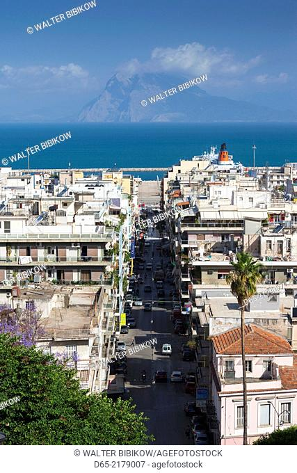 Greece, Peloponese Region, Patra, elevated city view over Agios Nikolaos Street