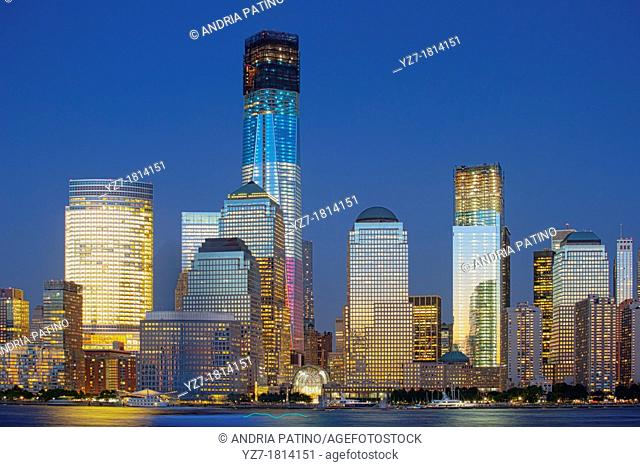 One World Trade Center under construction is illuminated in Red, White and Blue, New York, USA