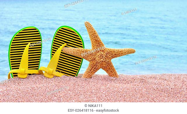 Colorful flip flops and starfish on the beach