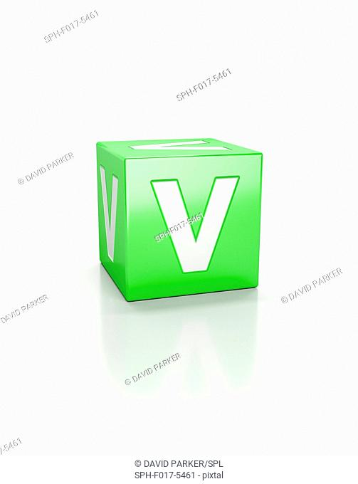 Green cube with letter V