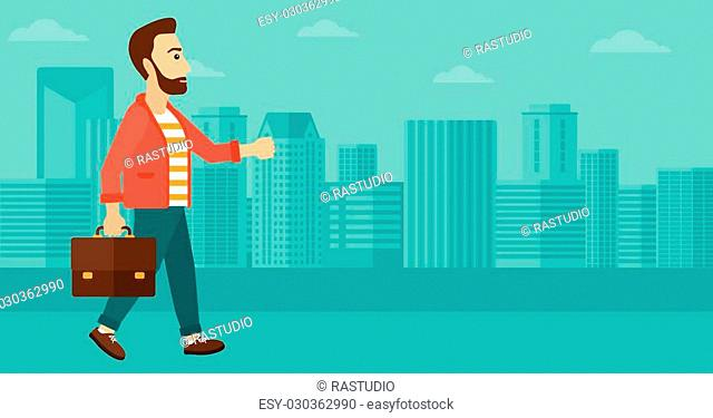 A hipster man with the beard walking with a briefcase on the background of modern city vector flat design illustration. Horizontal layout