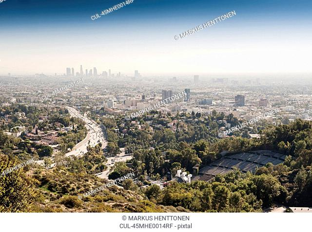 Aerial view of City of Los Angeles, USA. Hollywood Bowl in front and Downtown in background
