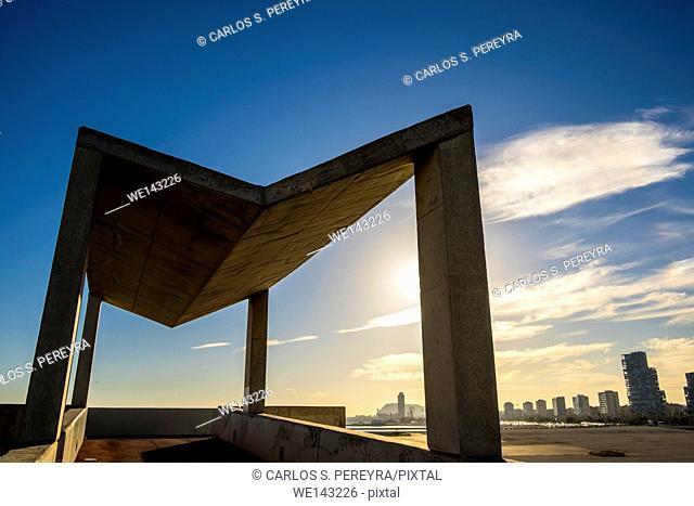 Forum Park architecture detail, Barcelona, Catalonia, Spain