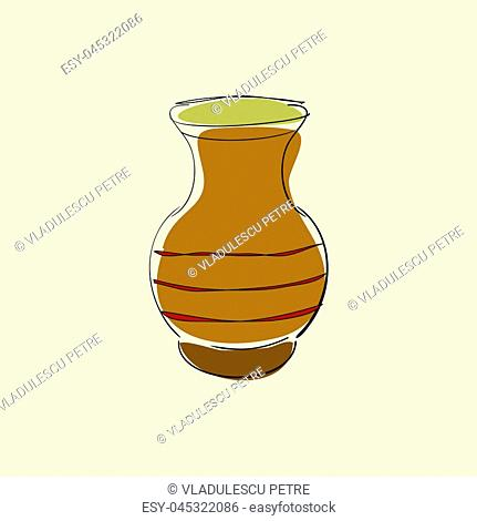 clay pot with three horizontal red stripes