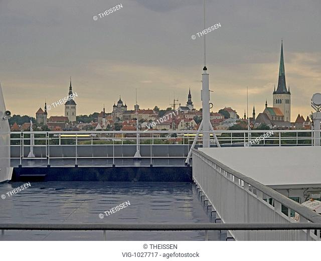 the ferry Viking Line is leaving Tallin, view from the aft deck to the city with old town, shipping across the Baltic Sea to Helsinki, Finland Estland