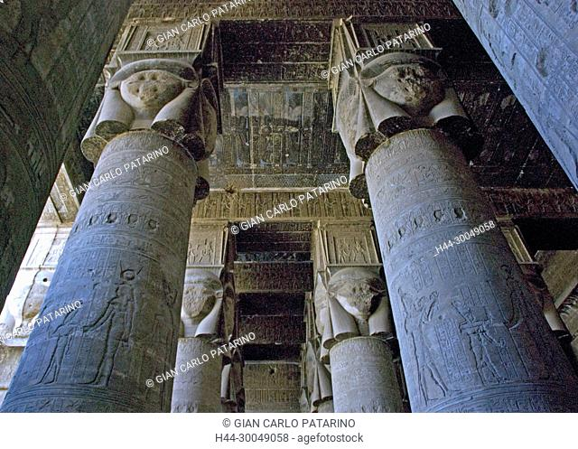 Egypt,Dendera,Ptolemaic temple of the goddess Hathor.View of ceiling and Hathoric columns