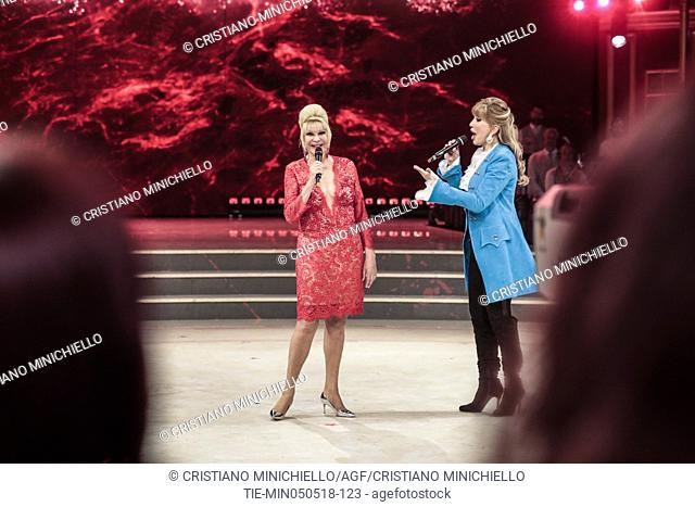 Ivana Trump, tv presenter Milly Carlucci during the tv show Dancing with the stars, Rome, ITALY-05-05-2018