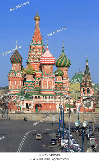 Domes of St. Basil's cathedral, Red square, Moscow, Russia