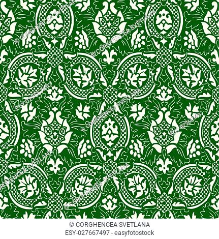 Green and white Seamless abstract hand-drawn floral pattern, vintage background. Seamless pattern can be used for wallpaper, pattern fills, web page background