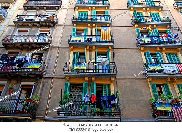 balconies, district of La Barceloneta, Barcelona, Catalonia, Spain