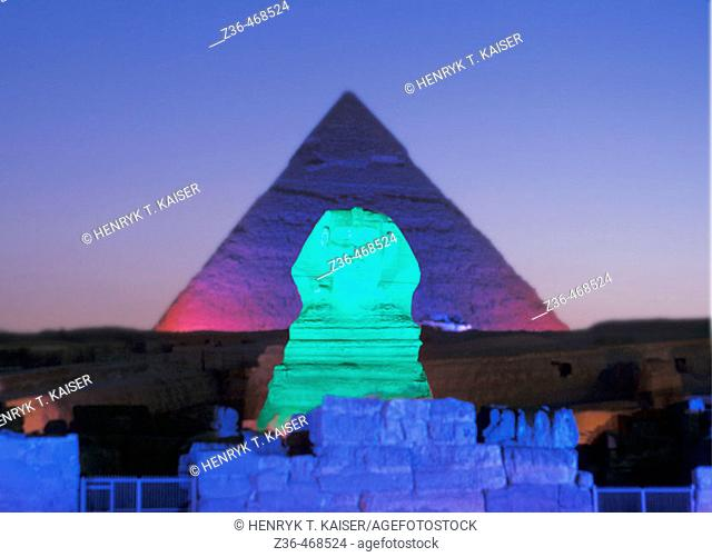 Night show at Sphinx, Egypt