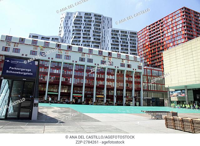ROTTERDAM, NETHERLANDS - JUNE 6: This city is the architectural capital of the Netherlands in Rotterdam. Schouwburgplein a new cultural square in Rotterdam