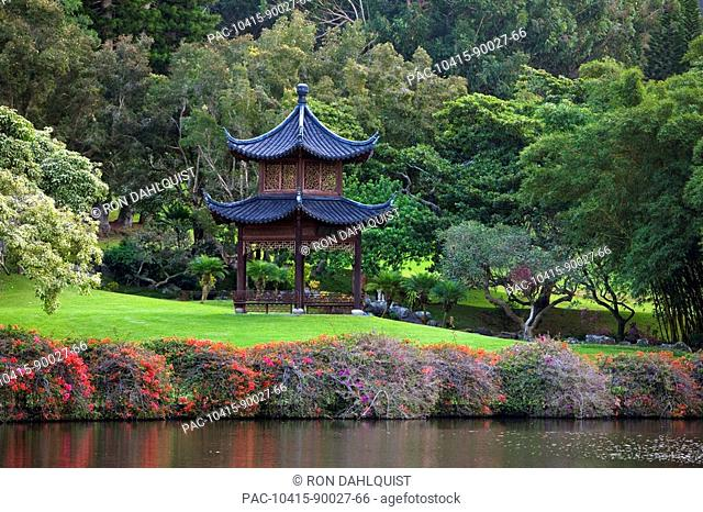 Hawaii, Lanai, Classic Japanese Pagoda on the ground of the Four Seanson's Koele Resort
