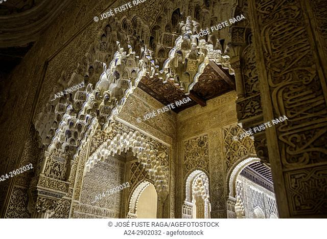 Spain, Andalucia, Granada City, The Alhambra, UNESCO (W. H. ), Lion's Patio, detail