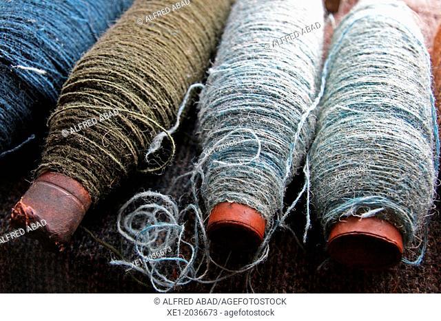 Raw woolen clews, Museum, Isle of Skye, Highland, Scotland, UK
