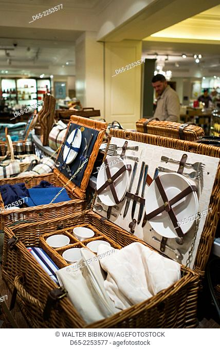 England, London, St. James, Fortnum and Mason store, wicker picnic basket