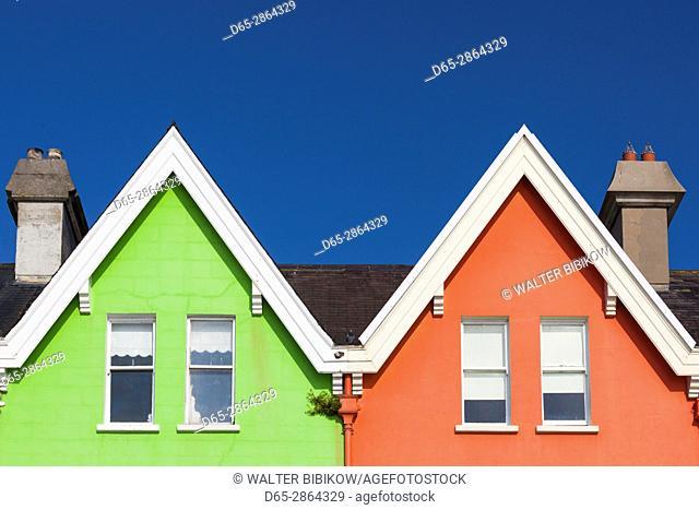 UK, Northern Ireland, County Antrim, Whitehead, colorful houses