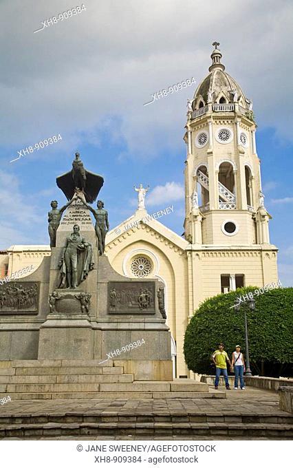 St Francis of Assisi Church and Statue of Bolivar, Plaza Bolivar, Casco Viejo, Panama City, Panama