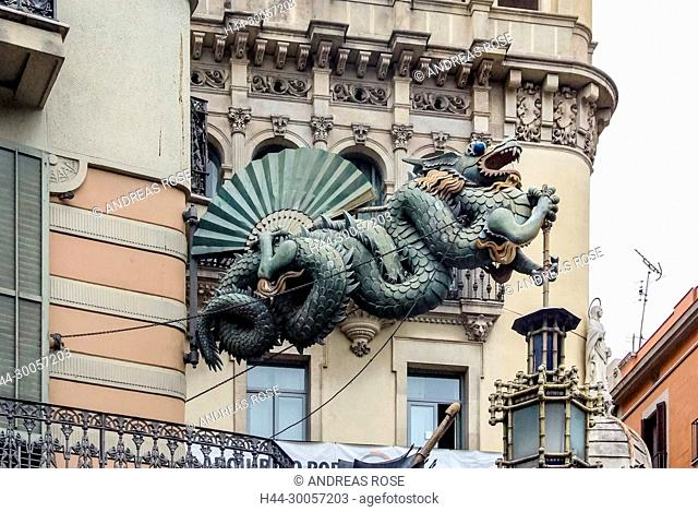 Barcelona, Casa Bruno Cuadros, Catalonia, Chinese sea dragon on building, La Rambla, Ramblas, Spain, lantern