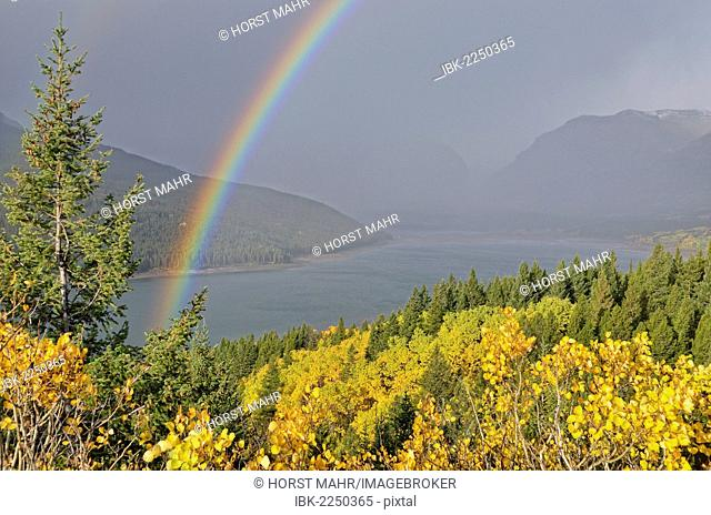 Lower Two Medicine Lake with rainbow, Glacier National Park, Montana, USA