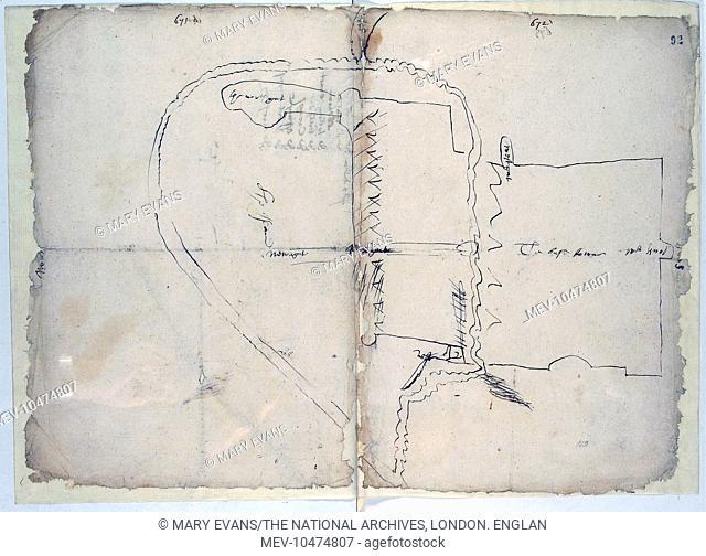 Hand drawn map of Limerick, Ireland, c. 1603