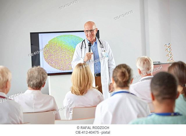 Male surgeon with microphone leading conference