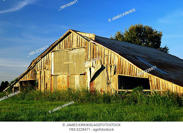 A weathered barn still stands