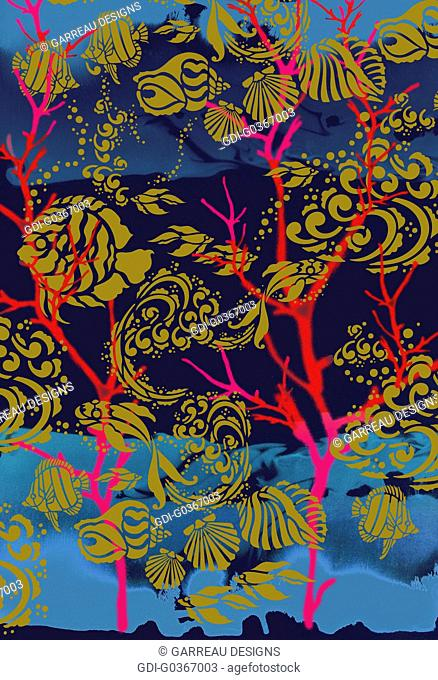 Fish, shells and coral design on blue background