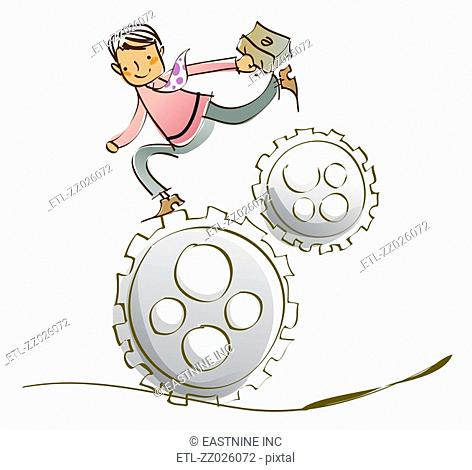 Businessman carrying a briefcase and running on gears