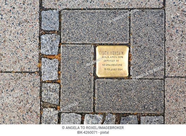 Memorial stone to Erich Mühsam, murdered in 1934 in the Oranienburg concentration camp, Lübeck, Schleswig-Holstein, Germany