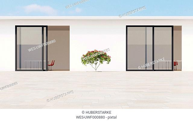 Bright courtyard with red frangipani, 3d rendering