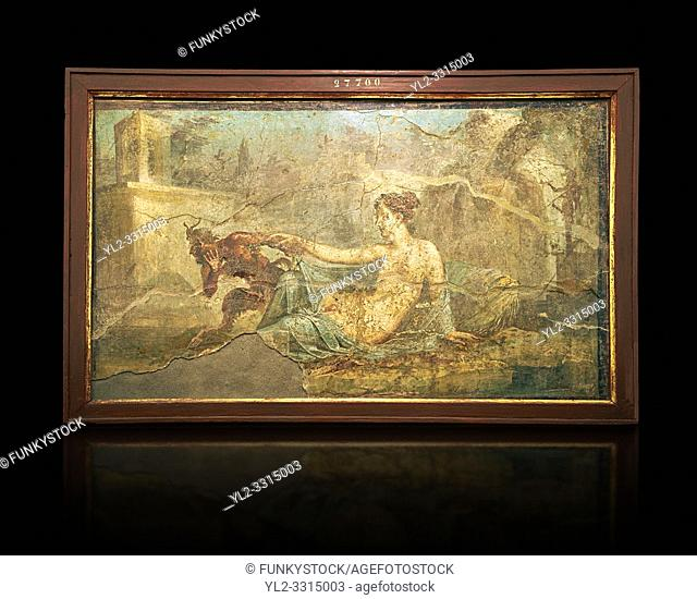 1 cent AD Roman Erotic fresco depicting Pan and Hermaphrodite, Pompeii (VI, 9, 6,) Casa die Dioscuri, inv 27700, 1-50 AD, Naples Archaological Museum, Italy