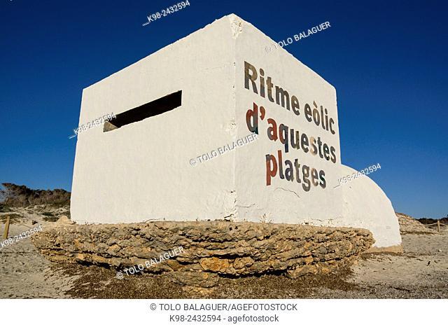 intervencion de Boamistura, bunker de la guerra civil española, playa de Es Trenc, Majorca, Balearic Islands, Spain