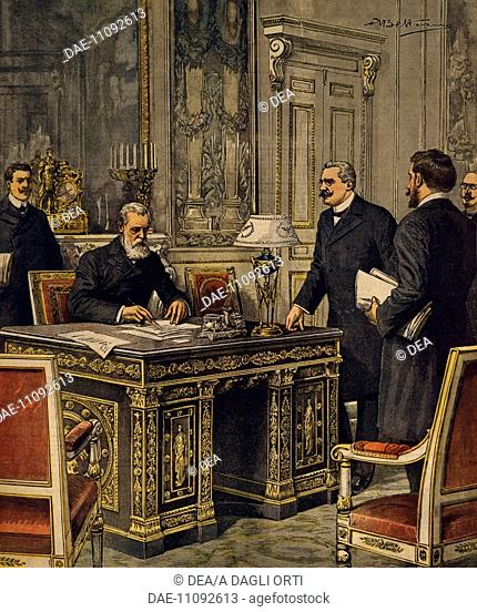 Signing of the Franco-Italian Arbitration Convention in Paris. Illustrator Achille Beltrame (1871-1945), from La Domenica del Corriere, 10th January 1904