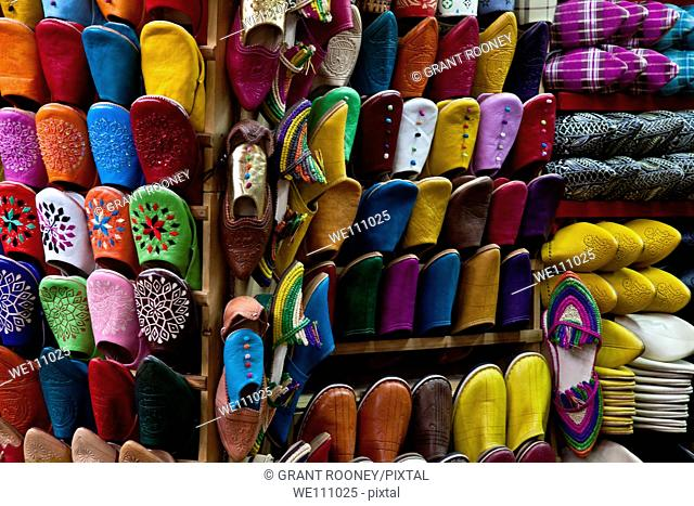 Traditional Moroccan slippers for sale, The Medina, Fez, Morocco