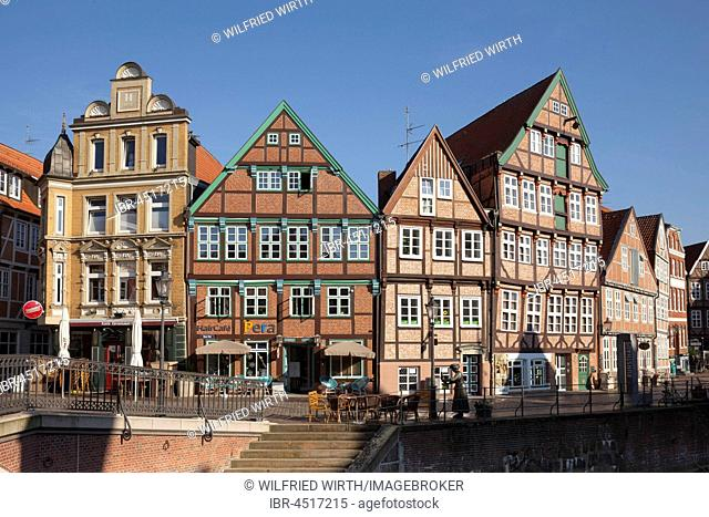 Historic half-timbered houses, Old Port, Stade, Lower Saxony, Germany