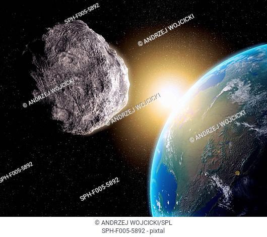 Near-Earth asteroid, computer artwork