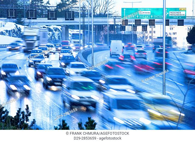 Sweden, Stockholm - Traffic into City during Rush Hour at Haga Norra