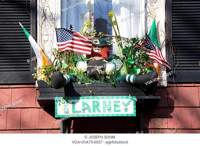 Clarney window display, St. Patrick's Day Parade, 2014, South Boston, Massachusetts, USA