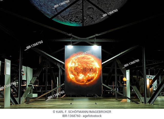 Large photo of the glowing sun, exhibition Wunder des Sonnensystems wonders of the solar system, Gasometer Oberhausen, Ruhrgebiet region, North Rhine-Westphalia