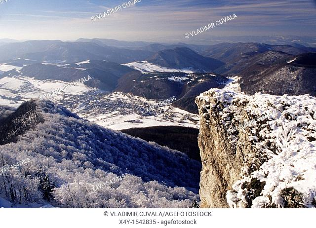 Summit view from the Strazov, mountain in the Strazovske vrchy, down to the village of Zliechov, Slovakia