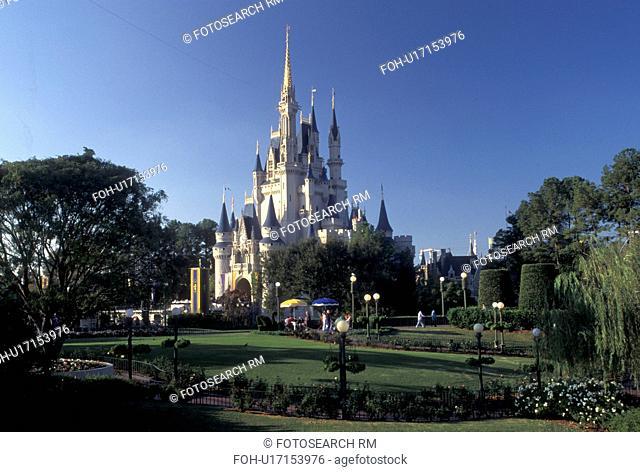 Cinderella Castle, Florida, Orlando, FL, Disney World, Magic Kingdom, Lake Buena Vista, Cinderella Castle in the Magic Kingdom at Walt Disney World in Lake...