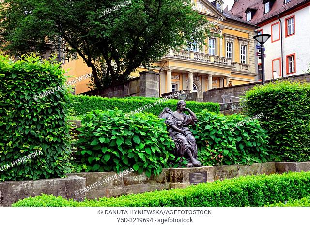 Margravine Wilhelmine, Wilhelmine von Bayreuth sculpture, Schlossterrassen park, in background rectory, vicarage and nursery school buildings belonging to...